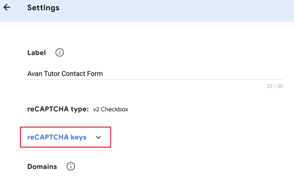 Screenshot of link to display reCAPTCHA Keys