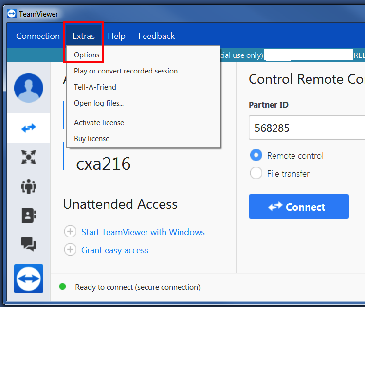 TeamViewer Grant Access Windows Step 1 Extras then Options