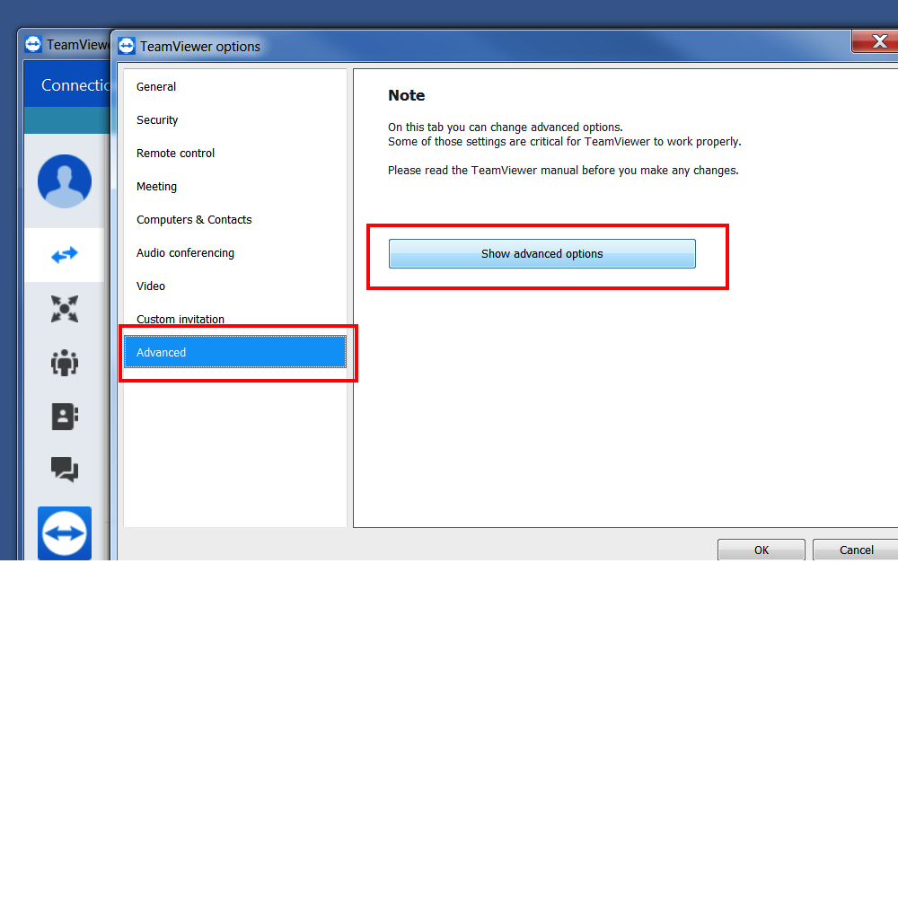 TeamViewer Grant Access Windows Step 2 Advanced then Show advanced options