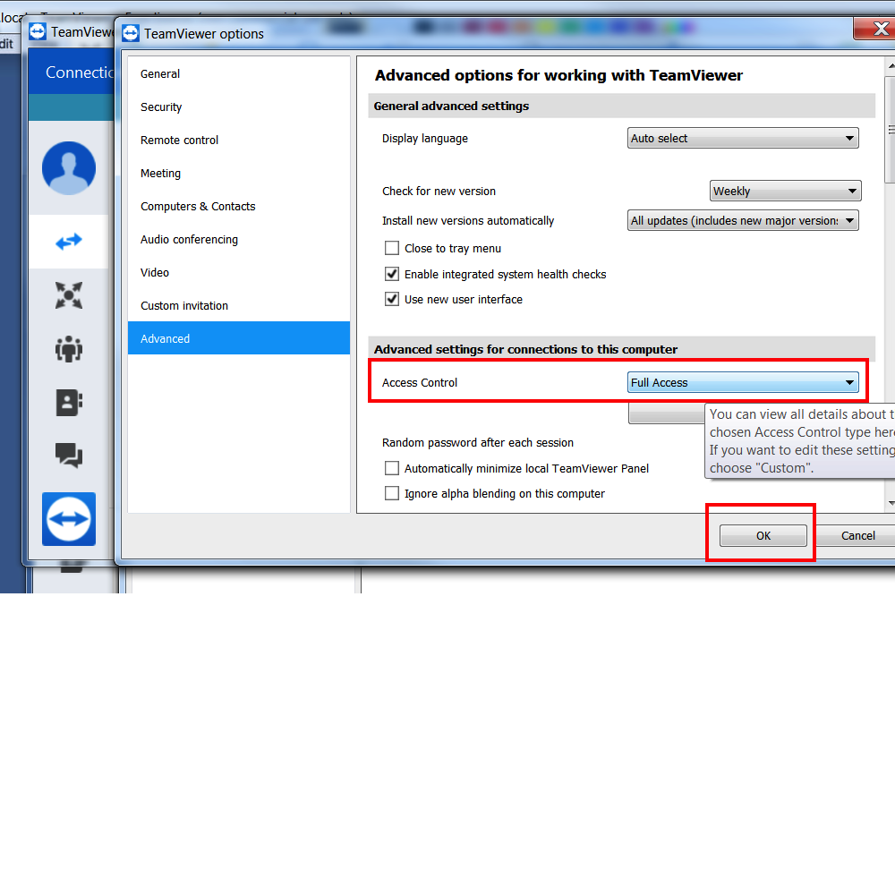 TeamViewer Grant Access Windows Step 3 Access Control Access then OK