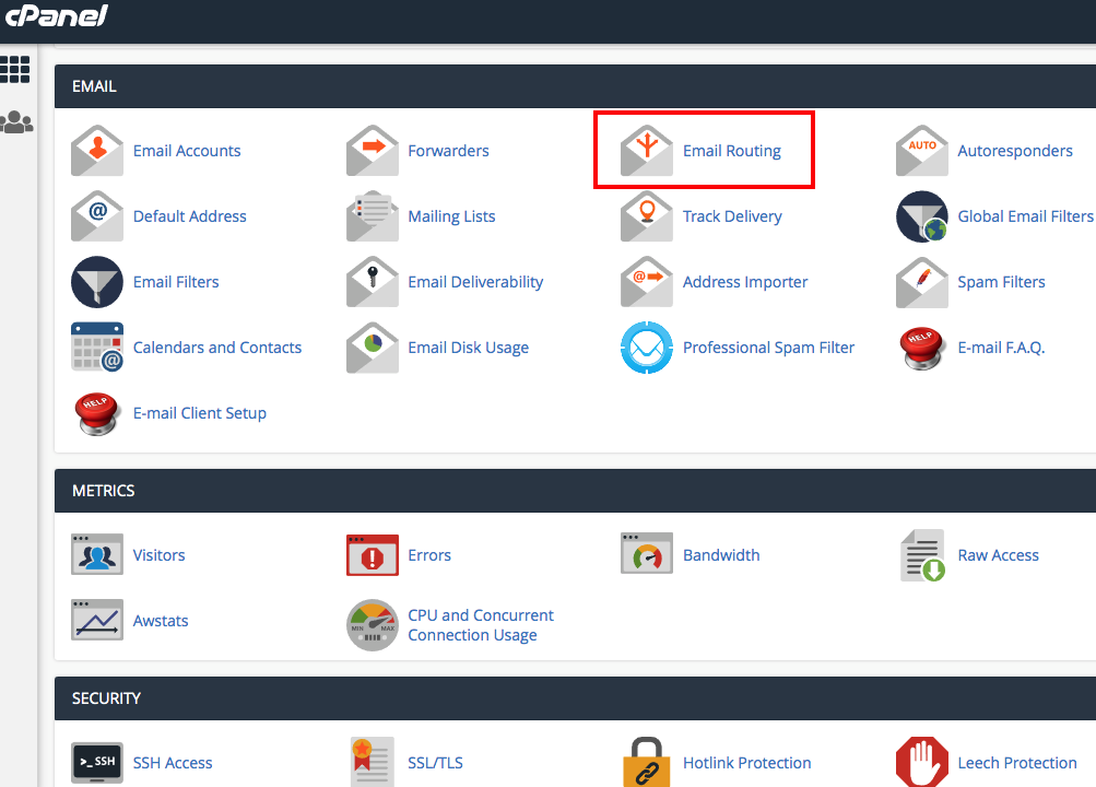 cPanel Email Routing Step 1 How to make sure Local Mail Exchanger is selected