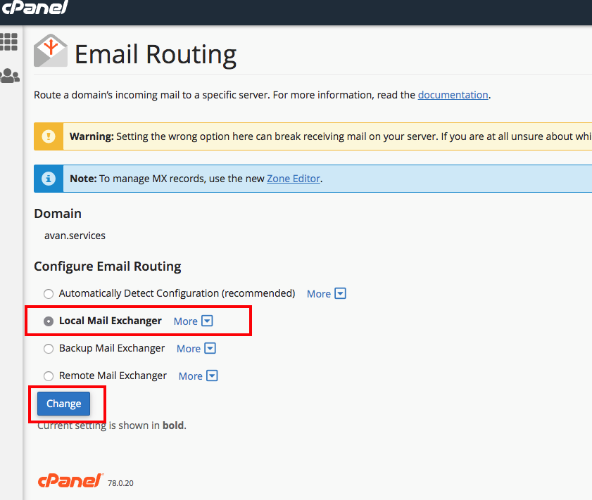 cPanel Email Routing Step 2 How to make sure Local Mail Exchanger is selected