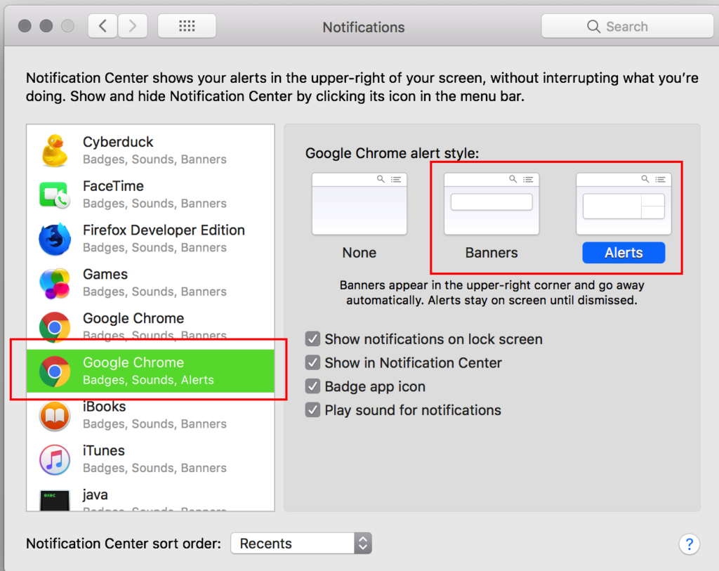 Step 6 of Getting Push Notifications to work using Airship. Notification Settings. Mac OS Notifications Settings. Screen 3.