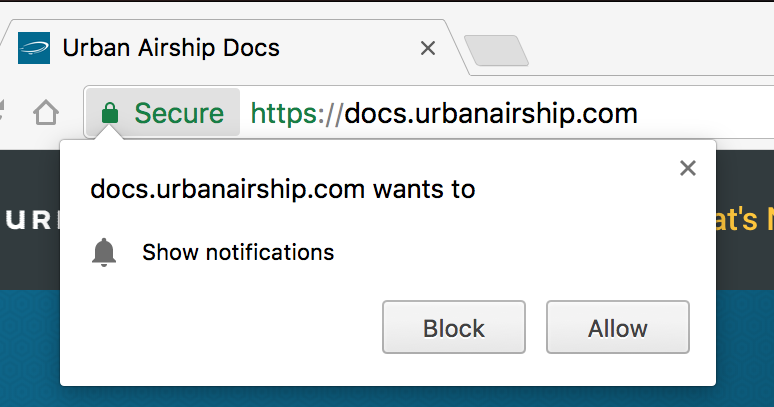 Step 6 of Getting Push Notifications to work using Airship. Notification Settings. Notification Block Allow Prompt.