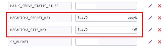 Screenshot of heroku config vars input boxes.
