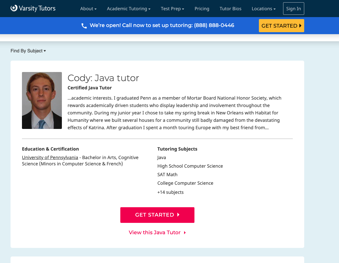 varsitytutors web page screenshot